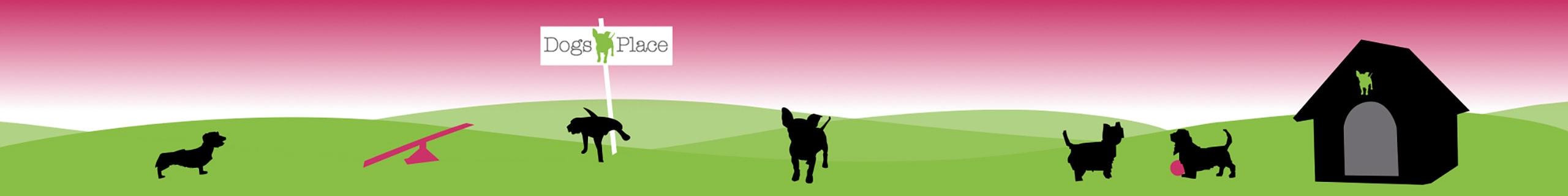 grafik mehrerer hunde auf einer gruenen wiese mit hundehuette und einem schild mit der aufschrift dogs place